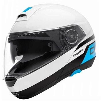 Schuberth C4 Flip Front Motorcycle Helmet (Pulse White/Blue)  - Click to view larger image