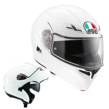 AGV COMPACT ST Flip Front Helmet (White)  - Click to view larger image