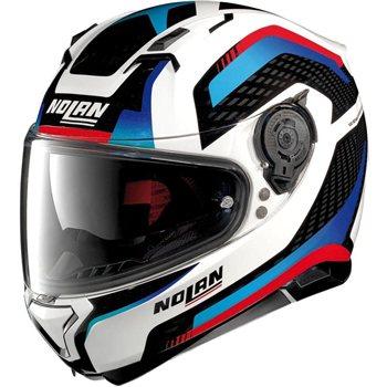 Nolan N87 Arkad N Com Motorcycle Helmet Whitebluered Le Pare