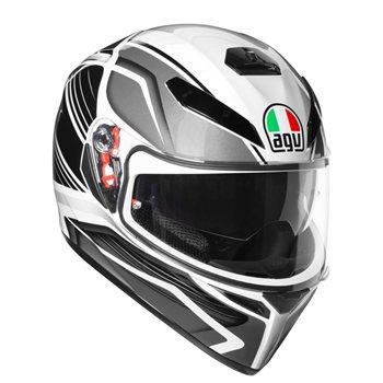 AGV K3 SV Proton Motorcycle Helmet (Black|Silver) AGV-K3-SV