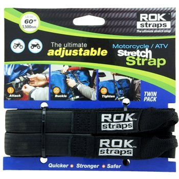 Oxford ROK Motorcycle Straps HD 25mm Adj Black  - Click to view larger image