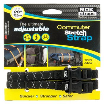 Oxford ROK Commuter Straps LD 12mm Adjustable Black Reflective ROK Straps LD 12mm Adj Black reflective - Click to view larger image