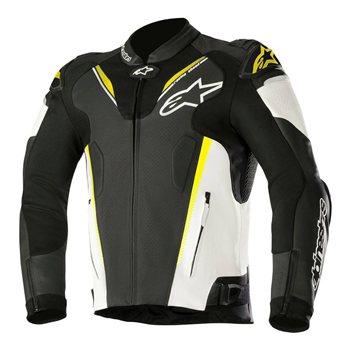 Alpinestars ATEM v3 Leather Motorcycle Jacket (Black/White/Fluo Yellow) Alpinestars-ATEM-v3-Leather-Motorcycle-Jacket-Black-White-yellow - Click to view larger image