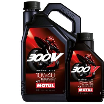 MOTUL 300V 10W40 Factory Line Race 100% Synthetic Oil Motul 300V 4T Factory Line 10w-40 - Click to view larger image