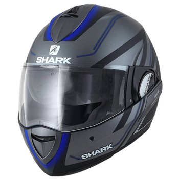 52accc24 Shark Evoline 3 Hyrium Flip Front Helmet (Mat Anthracite|Blue) - Click to