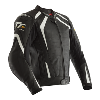 RST IOM TT Grandstand CE Leather Jacket 2235 (Black|White)  - Click to view larger image