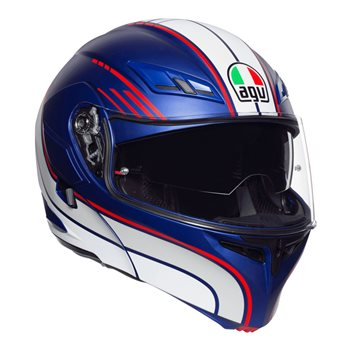 AGV Compact ST Boston Flip Front Helmet (Matt Blue|White|Red)  - Click to view larger image