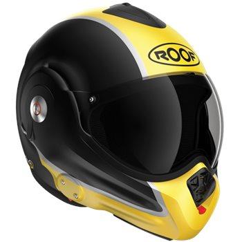Roof Desmo Flash Flip Front Helmet (Matt Black|Yellow)  - Click to view larger image