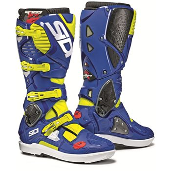 Sidi Crossfire 3 SRS Motocross Boots (Fluo Yellow|Blue)  - Click to view larger image