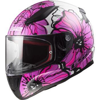 LS2 FF353 Rapid Poppies Helmet (Pink) LS2-FF353-Rapid-Poppies-Helmet-Pink - Click to view larger image