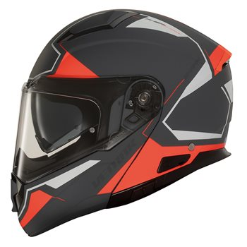 Vemar Sharki Cutter Flip Front Helmet (Matt Grey|Fluo Red) Vemar Sharki Cutter Motorcycle Helmet Matt Grey-Fluo Red - Click to view larger image