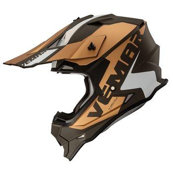 Vemar Taku Blade Moto-X Helmet (Matt Bronze|White)  - Click to view larger image