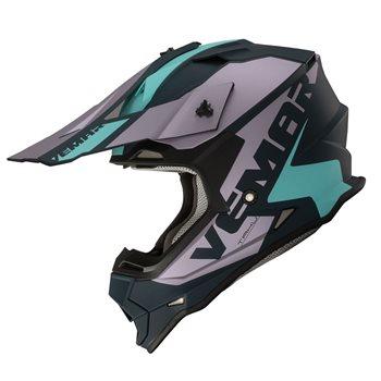 Vemar Taku Blade Moto-X Helmet (Matt Purple|Teal)  - Click to view larger image