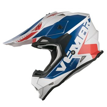 Vemar Taku Blade Moto-X Helmet (White Blue Red)  - Click to view larger image