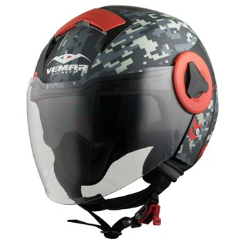 Vemar Breeze Camo Open Face Helmet (Matt Grey|Red)  - Click to view larger image