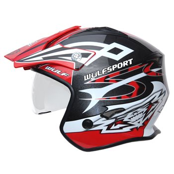 Wulfsport Cub Vista Trials Helmet (Red)  - Click to view larger image