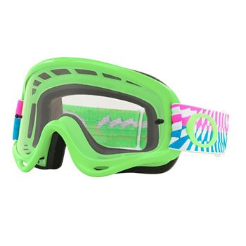 Oakley MX Goggles O Frame Braking Bumps Green Pick (Clear Lens)  - Click to view larger image