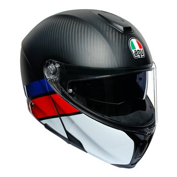 AGV Sports Modular Layer Flip Front Helmet (Carbon|Red|Blue)  - Click to view larger image