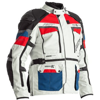 RST Pro Series Adventure-X Airbag CE Textile Jacket 2972 (Ice Blue/Red)  - Click to view larger image