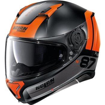 Nolan N87 Plus Distinctive N-Com Helmet (Flat Black/Orange)  - Click to view larger image