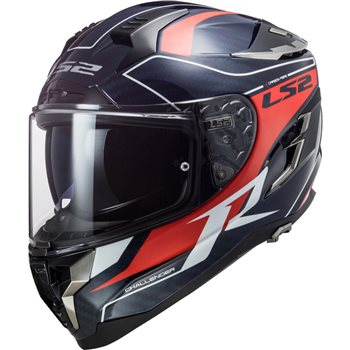 LS2 FF327 Challenger C Grid Carbon Helmet (Blue/Carbon/Red)  - Click to view larger image