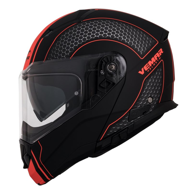 Vemar Sharki Hive Flip Front Helmet (Black|Fluo Orange) 1