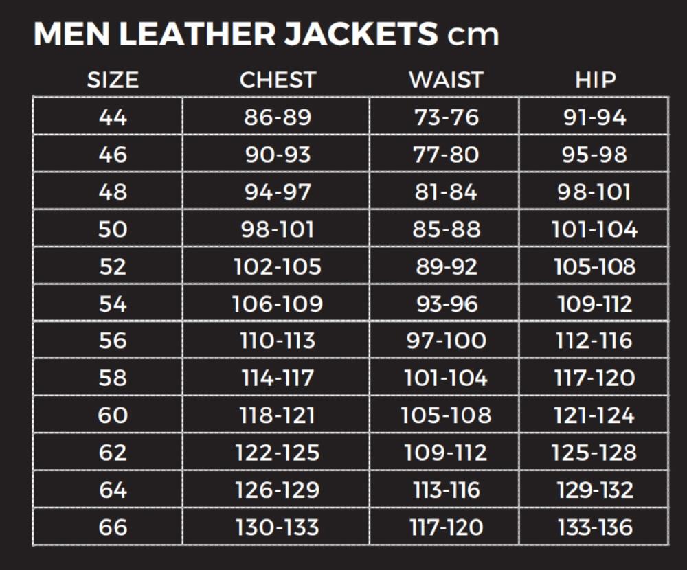 Richa-Mens-Leather-Jackets-Size-Chart