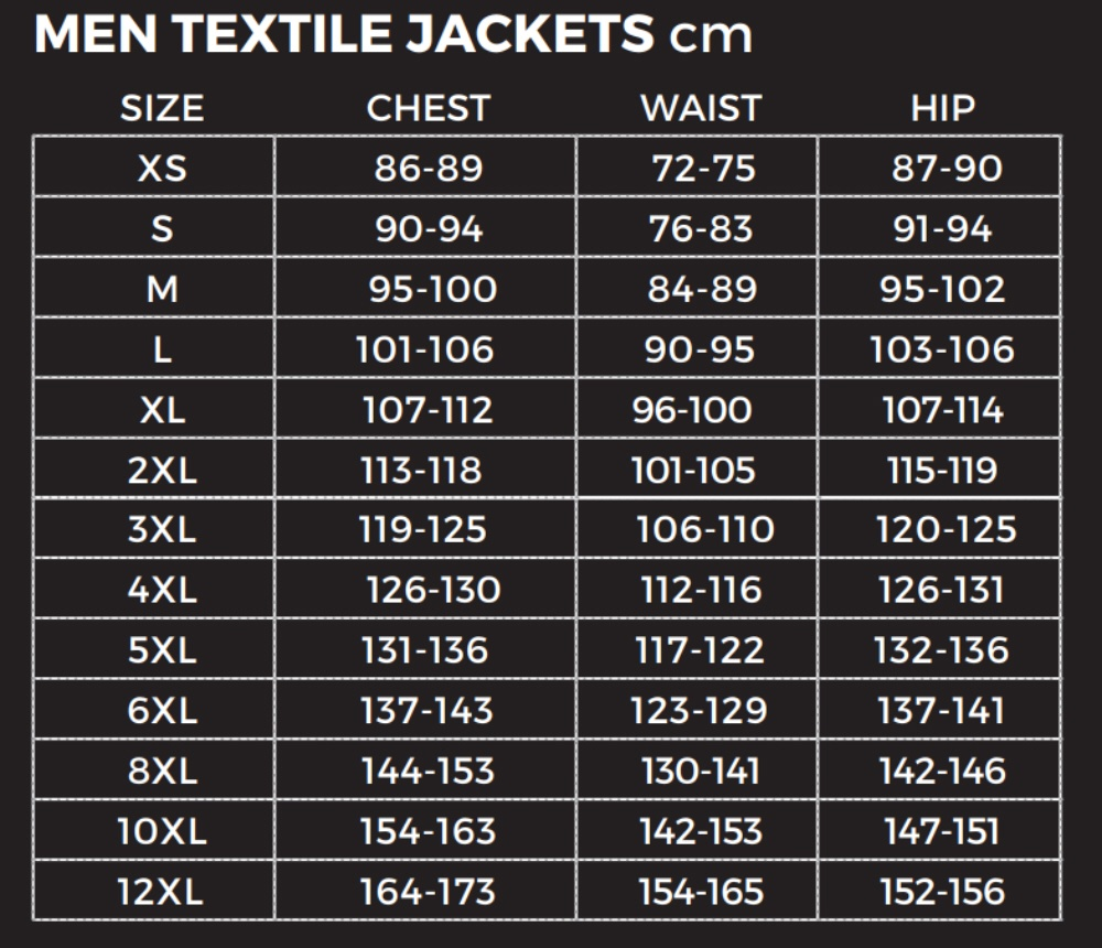 Richa-Mens-Textile-Jacket-Size-Chart
