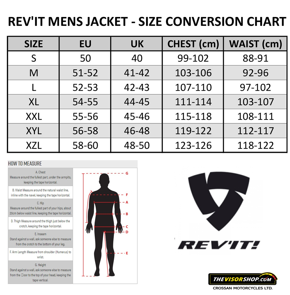 Rev'it_Textile_Motorcycle_Jacket_Size_Chart