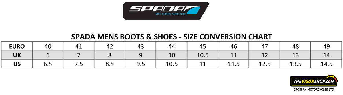 Spada_Motorcycle_Boots_Size_Chart