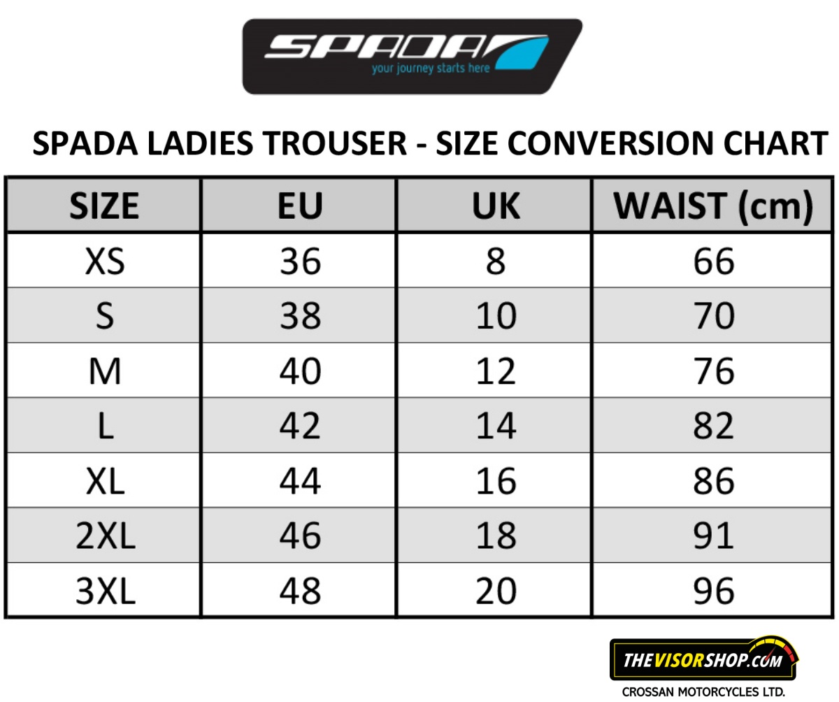 Spada_Womens_Motorcycle_Trousers_Size_Chart